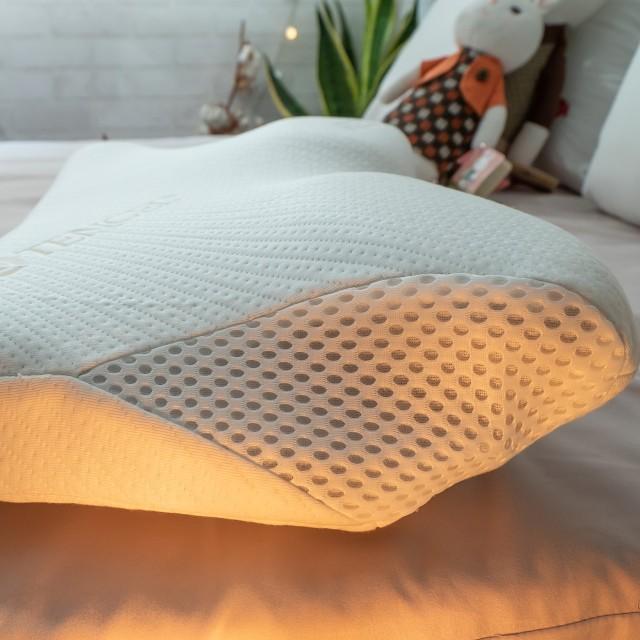 天絲蝴蝶記憶枕 60x30x高6~11cm(凹槽設計 固定頭部矯正睡姿 呵護頸椎) 台灣製【棉床本舖】