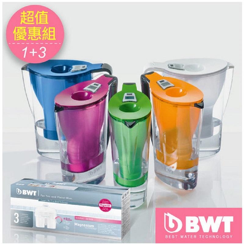 優惠組!BWT 德國倍世 Mg2+鎂離子健康濾水壺 2.7L (內含1芯)+濾芯-3入(顏色隨機出貨)