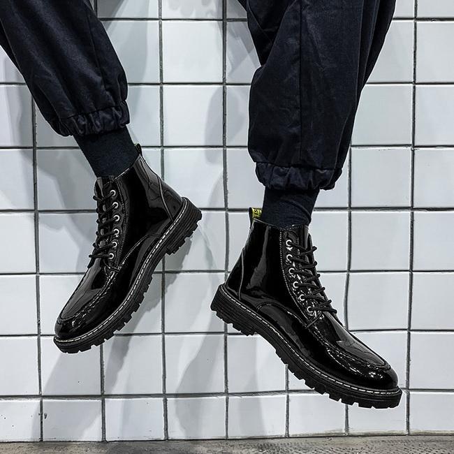 FOFU-馬丁靴休閒英倫戶外工作風漆皮亮面馬丁靴【08B-S0637】