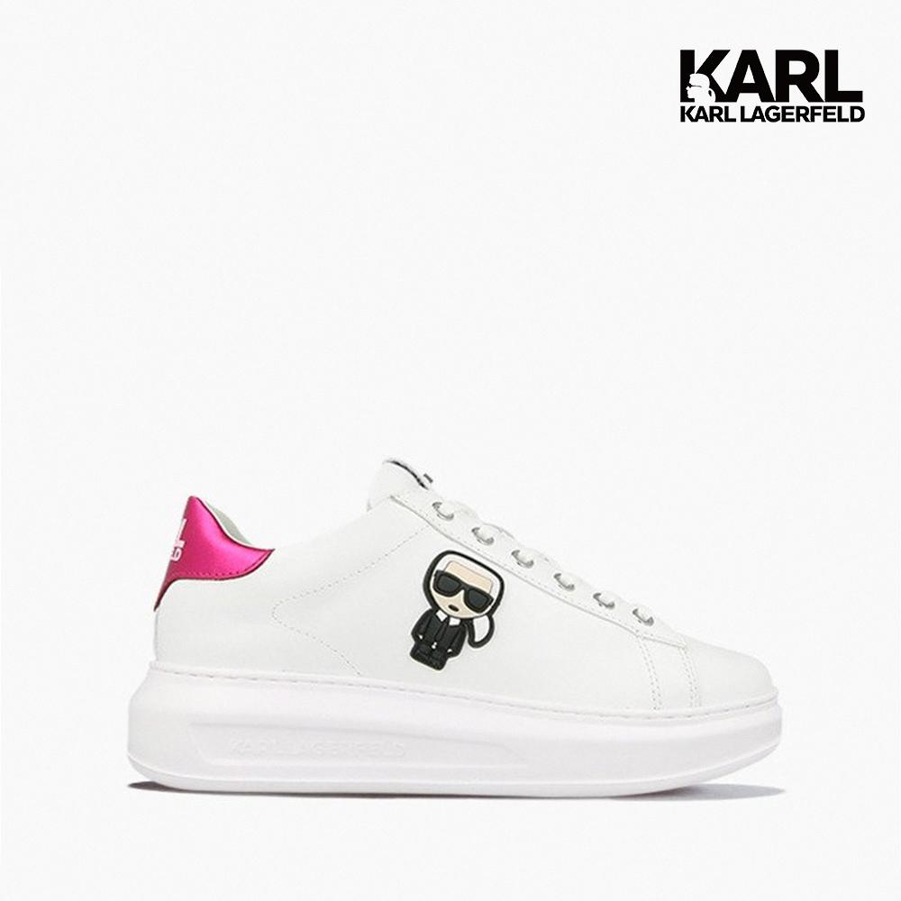 【KARL LAGERFELD】運動鞋 休閒鞋 KAPRI IKONIK綁帶運動鞋-白粉