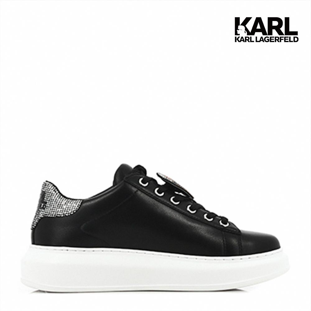 【KARL LAGERFELD】運動鞋 休閒鞋 KAPRI水鑽IKONIK綁帶運動鞋-黑