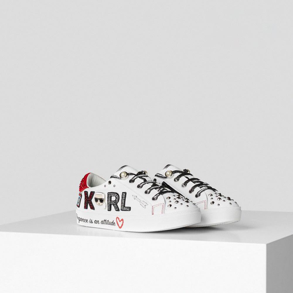【KARL LAGERFELD】運動鞋 休閒鞋 SKOOL珠寶徽章運動鞋-白