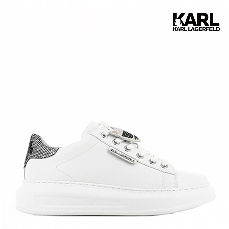 【KARL LAGERFELD】運動鞋 休閒鞋 KAPRI水鑽IKONIK綁帶運動鞋-白