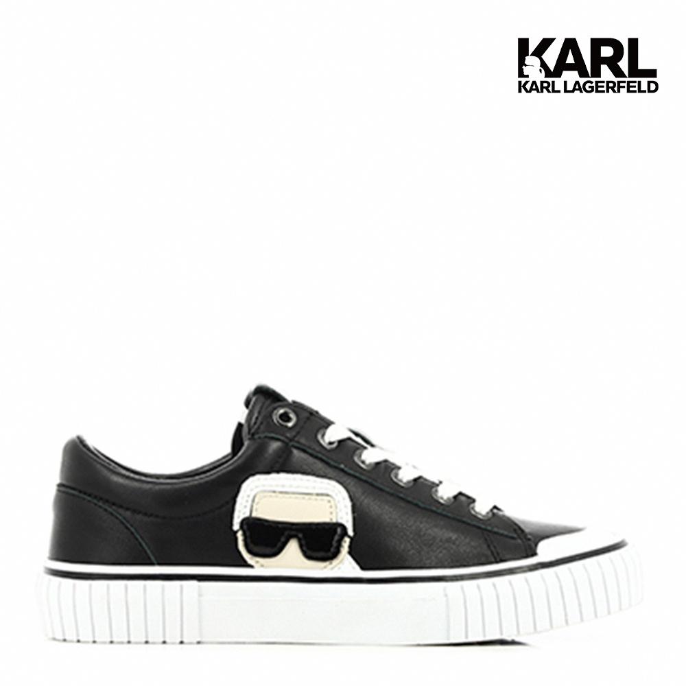 【KARL LAGERFELD】版鞋 休閒鞋 KAMPUS II 偷窺IKONIK真皮餅乾鞋-黑