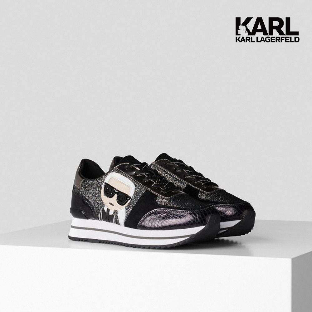 【KARL LAGERFELD】運動鞋 VELOCITA II IKONIK運動鞋-亮粉黑