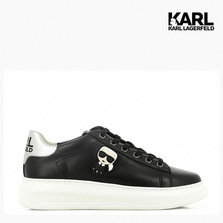 【KARL LAGERFELD】運動鞋 休閒鞋 KAPRI IKONIK綁帶運動鞋-黑