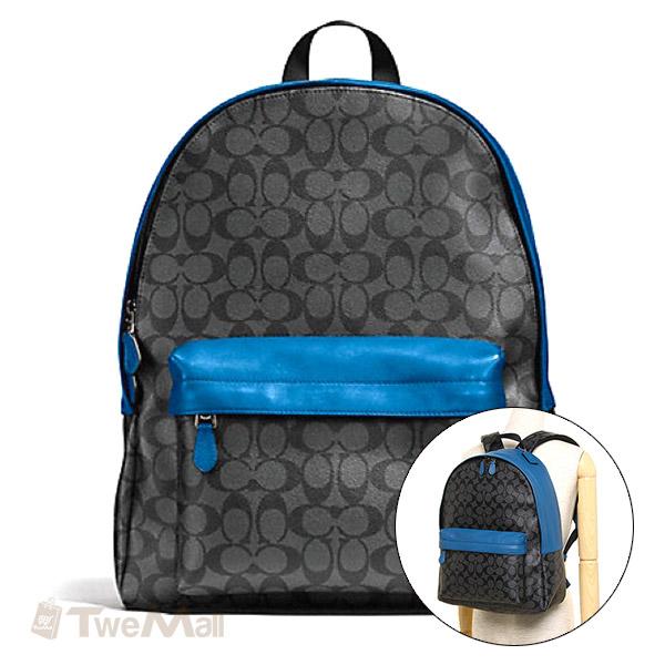 COACH 防刮皮革C LOGO大容量後背包(黑/藍)