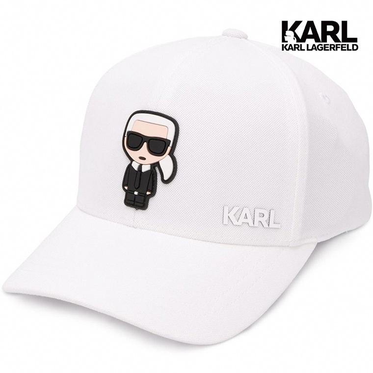 【KARL LAGERFELD】IKONIK棒球帽-白