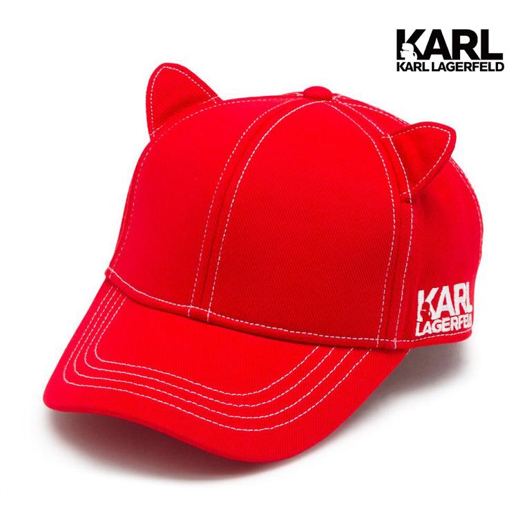 【KARL LAGERFELD】貓咪耳朵棒球帽-紅