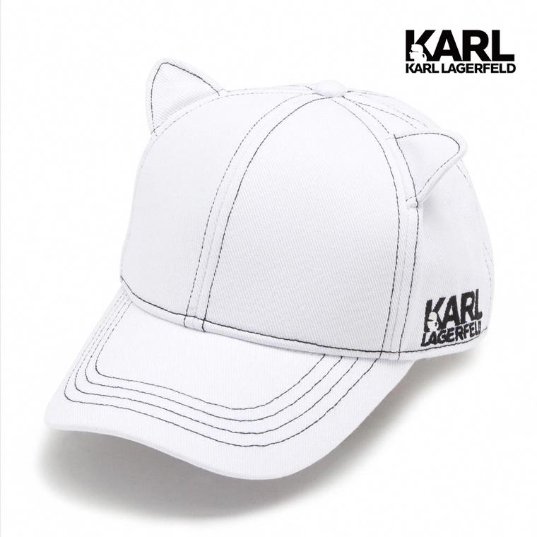 【KARL LAGERFELD】貓咪耳朵棒球帽-白