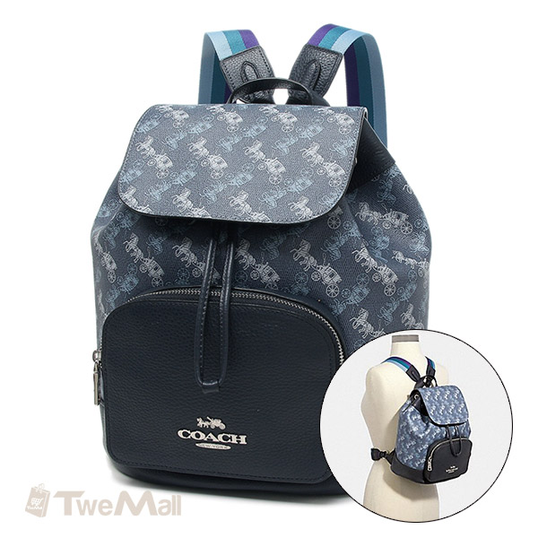 COACH 新款防刮皮革馬車LOGO後背包(藍)