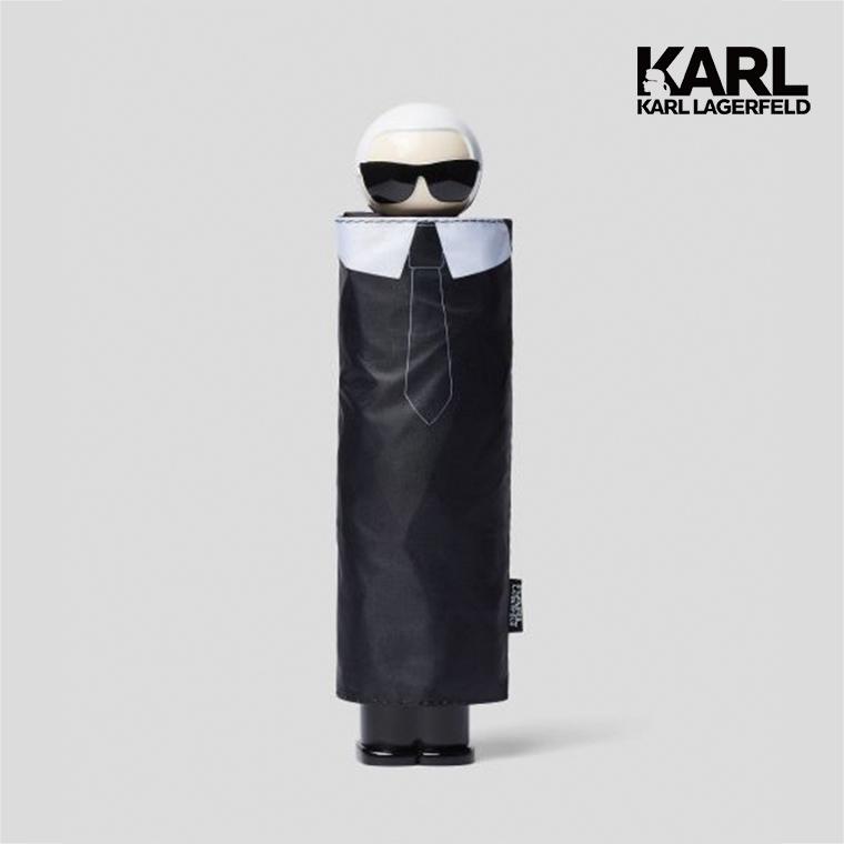 【KARL LAGERFELD】IKONIK造型頭飾摺疊雨傘-黑