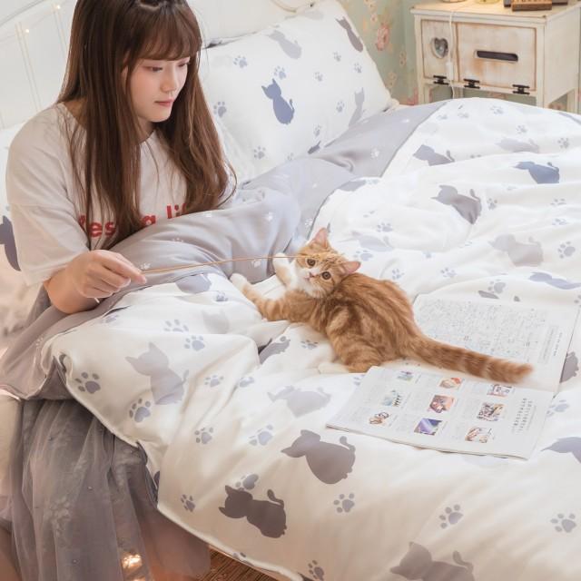 台灣製100%天絲 薄床包兩用被組合 紫貓月【棉床本舖】