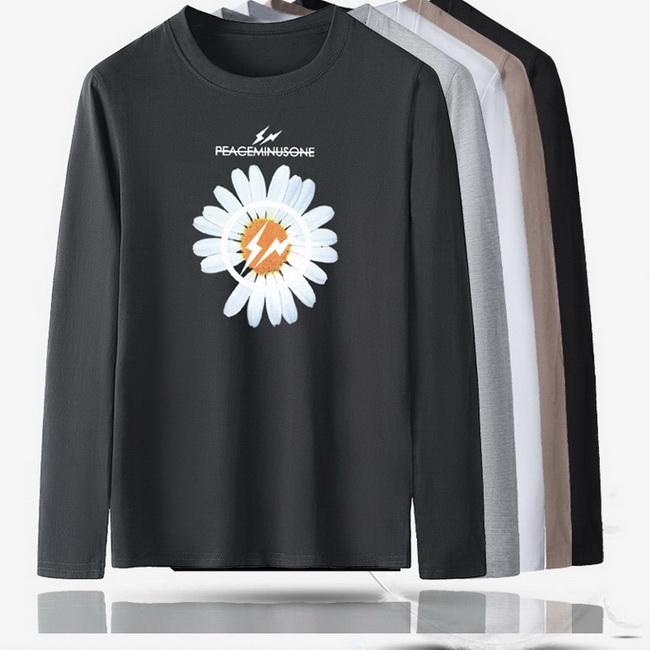 FOFU-長袖T恤雛菊花朵印花圓領百搭長袖上衣T恤【08B-B2281】