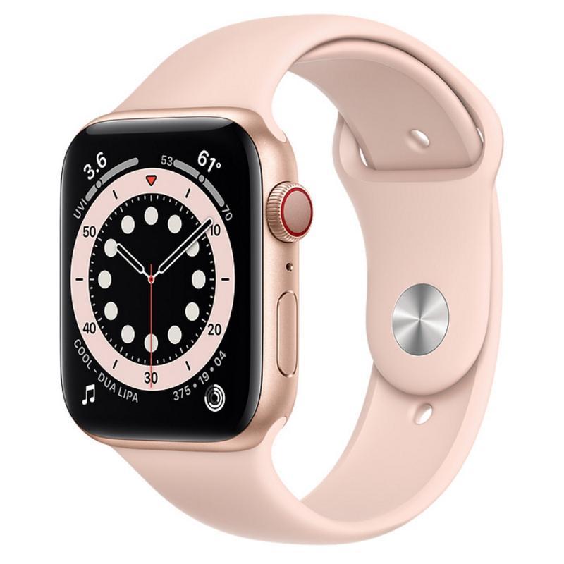 Apple Watch S6 LTE 44mm 金色鋁金屬-粉沙色運動型錶帶