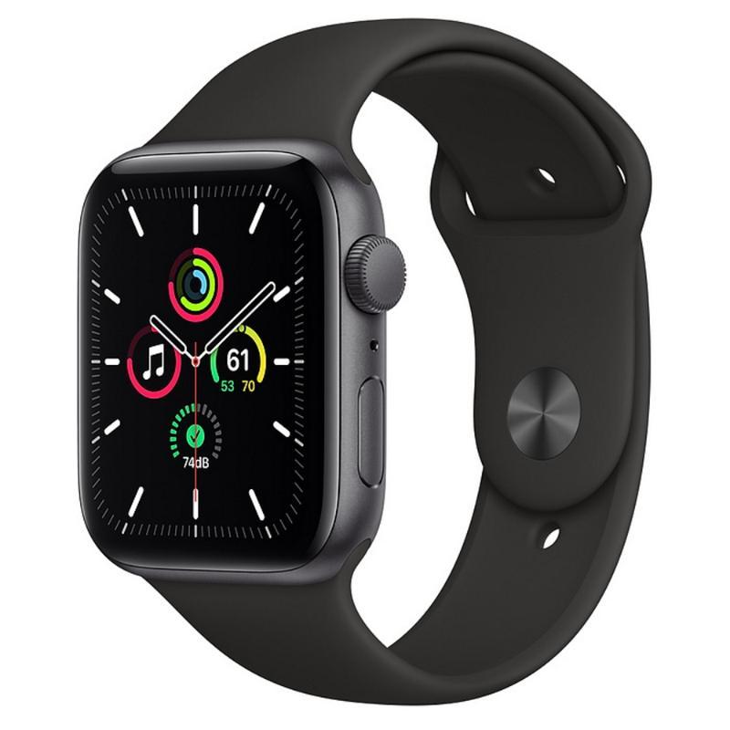 Apple Watch SE GPS 44mm 太空灰色鋁金屬-黑色運動型錶帶