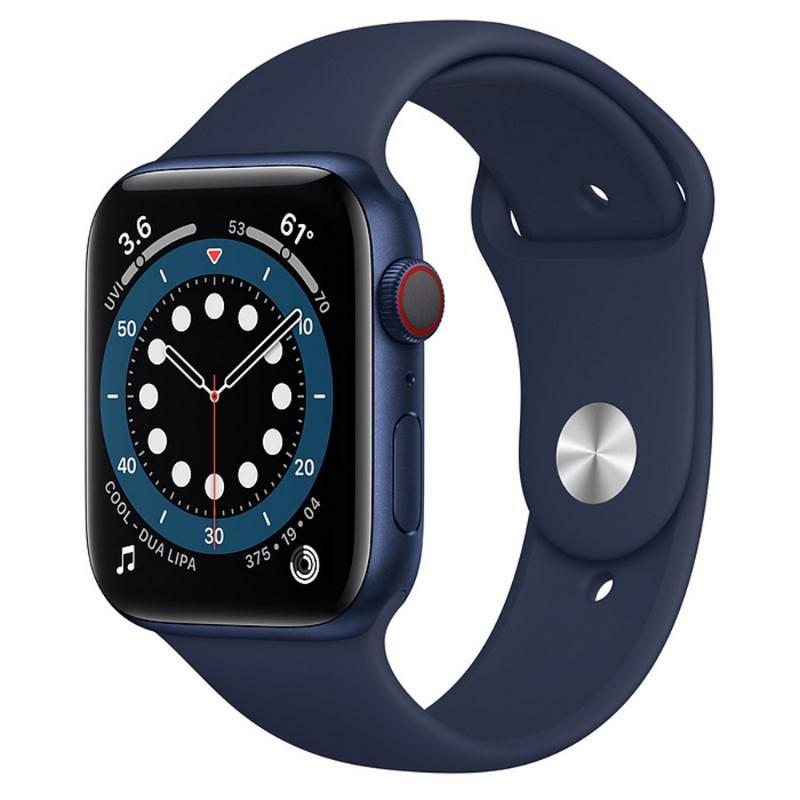 Apple Watch S6 LTE 44mm 藍色鋁金屬-海軍深藍色運動型錶帶