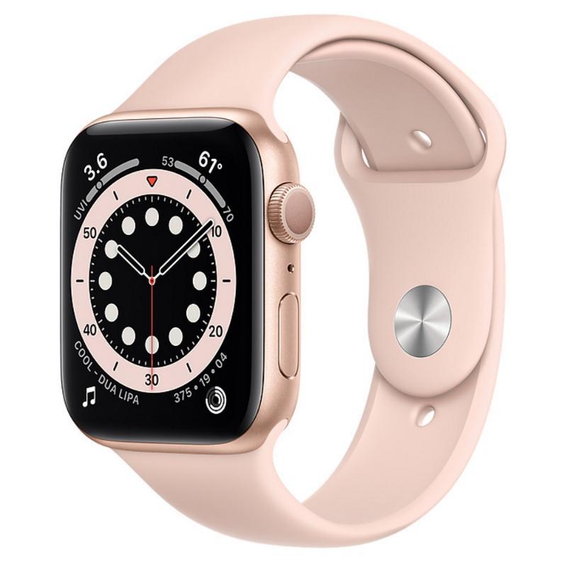 Apple Watch S6 GPS 44mm 金色鋁金屬-粉沙色運動型錶帶