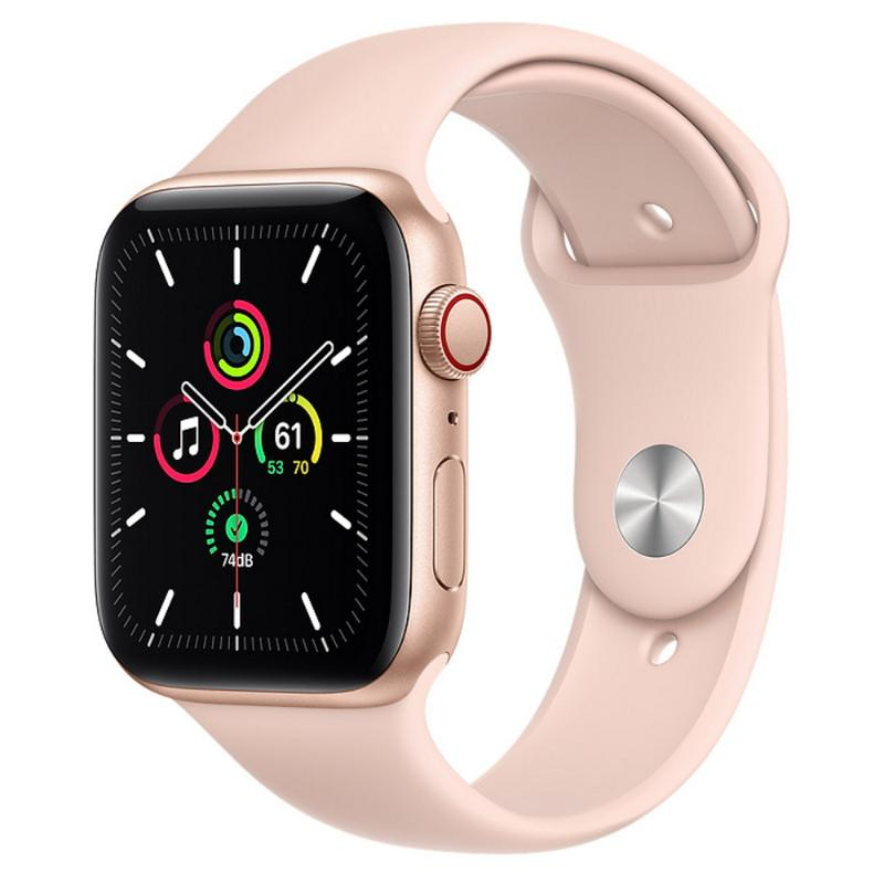 Apple Watch SE LTE 44mm 金色鋁金屬-粉沙色運動型錶帶