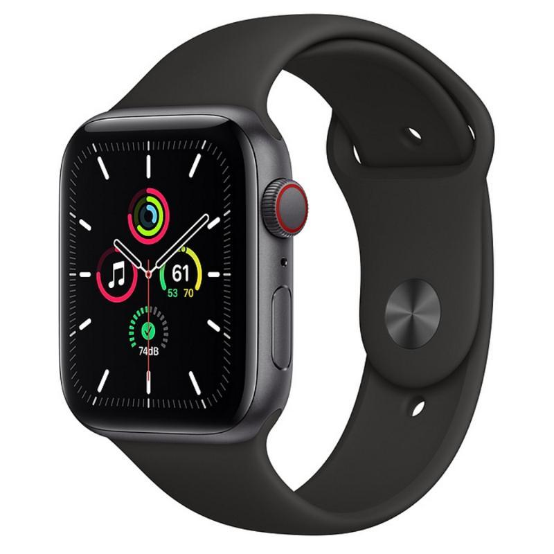 Apple Watch SE LTE 44mm 太空灰色鋁金屬-黑色運動型錶帶
