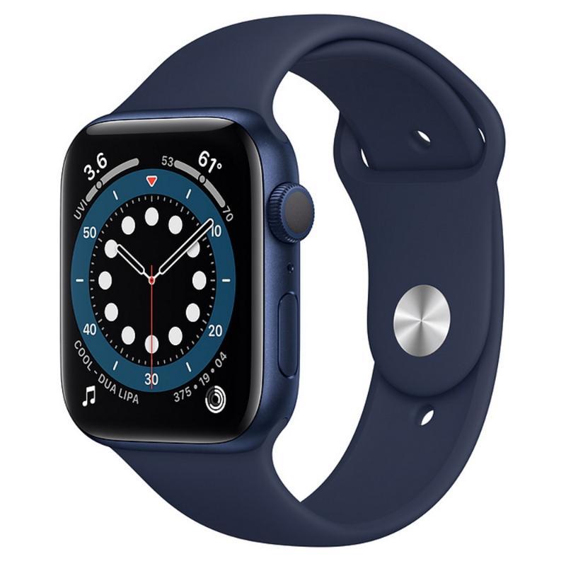 Apple Watch S6 GPS 44mm 藍色鋁金屬-海軍深藍色運動型錶帶