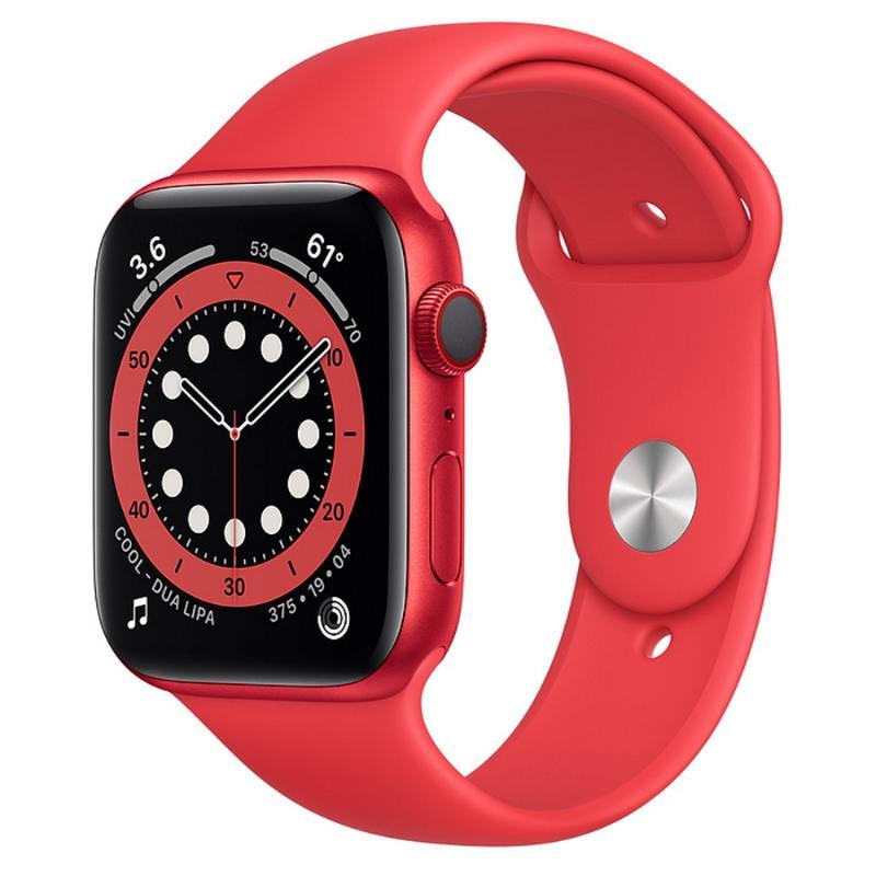 Apple Watch S6 LTE 44mm 紅色鋁金屬-紅色運動型錶帶