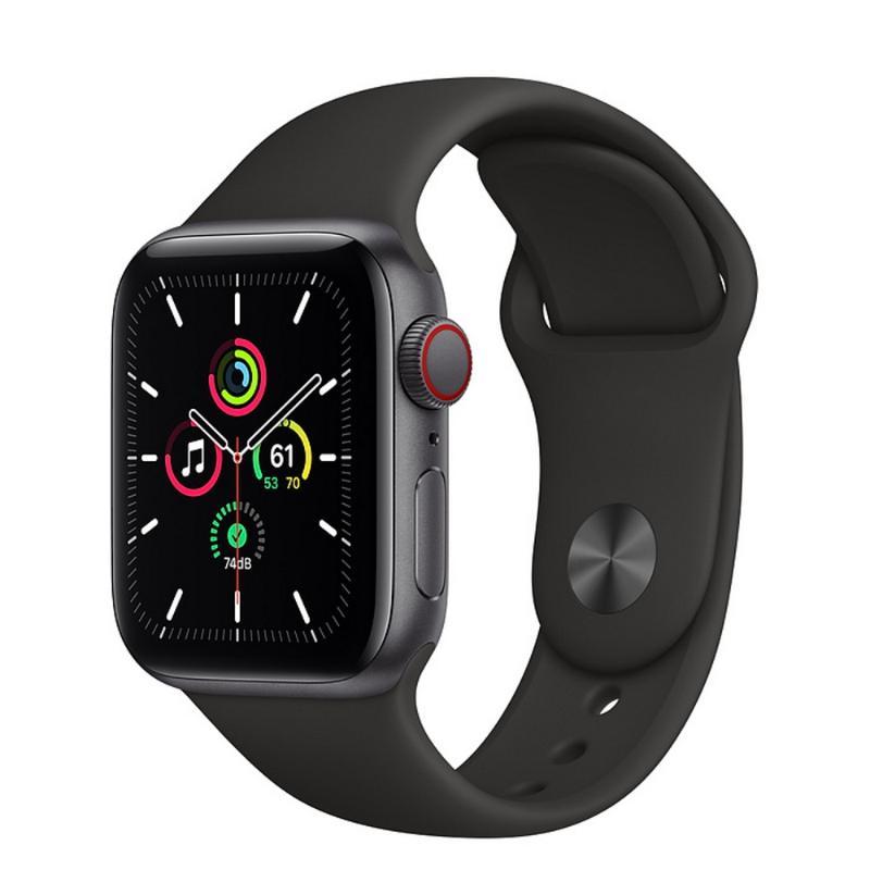 Apple Watch SE LTE 40mm 太空灰色鋁金屬-黑色運動型錶帶