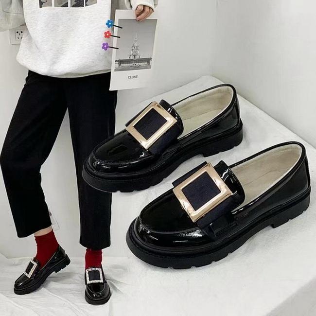 FOFU-皮鞋英倫學園風亮面漆皮圓頭低跟皮鞋【02S12569】