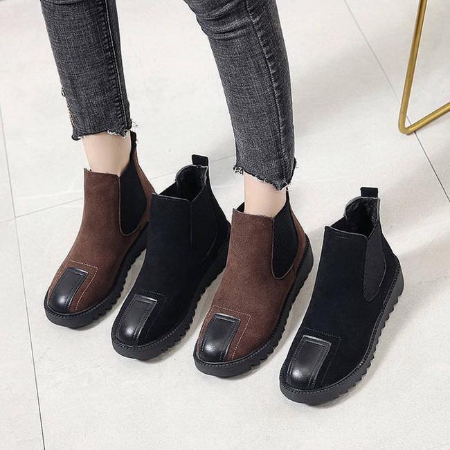 FOFU-短靴英倫復古經典絨面圓頭厚底短筒短靴踝靴【02S12581】