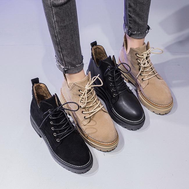 FOFU-短靴個性帥氣內裡絨毛圓頭粗跟中跟短筒厚底馬丁靴【02S12579】
