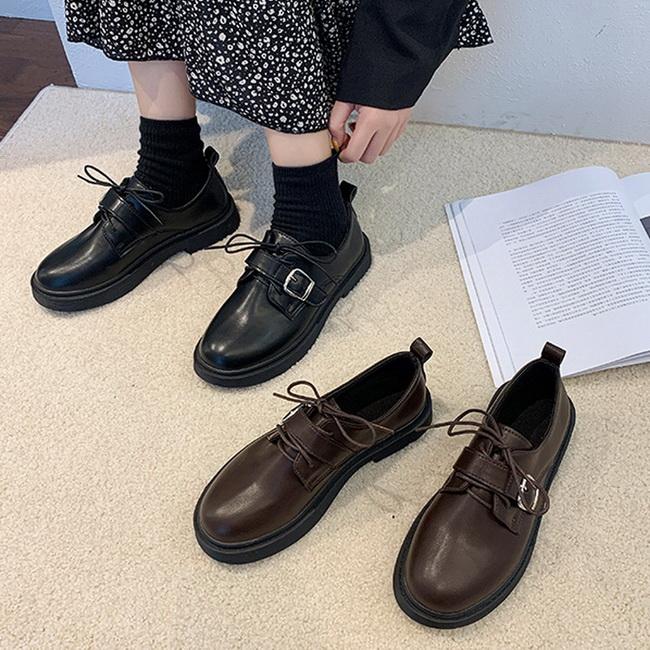 FOFU-牛津鞋英倫學園風圓頭平底牛津鞋【02S12570】