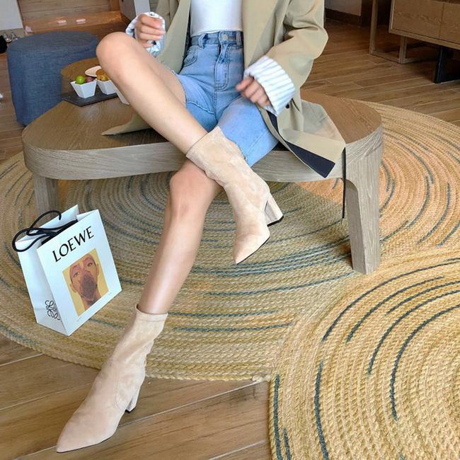 FOFU-短靴經典絨面素面尖頭粗跟高跟短筒短靴【02S12573】