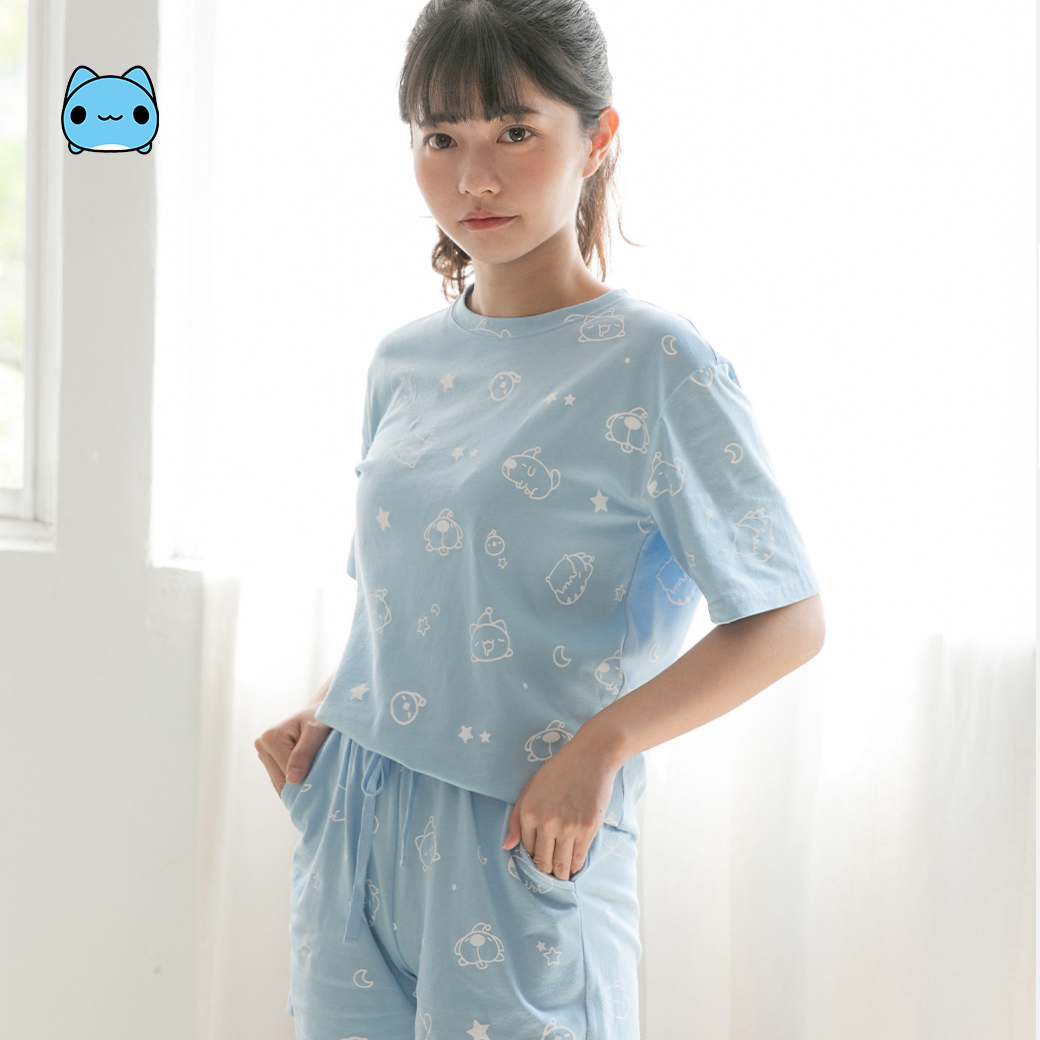 貓貓蟲咖波_短袖居家服衣褲兩件組-女