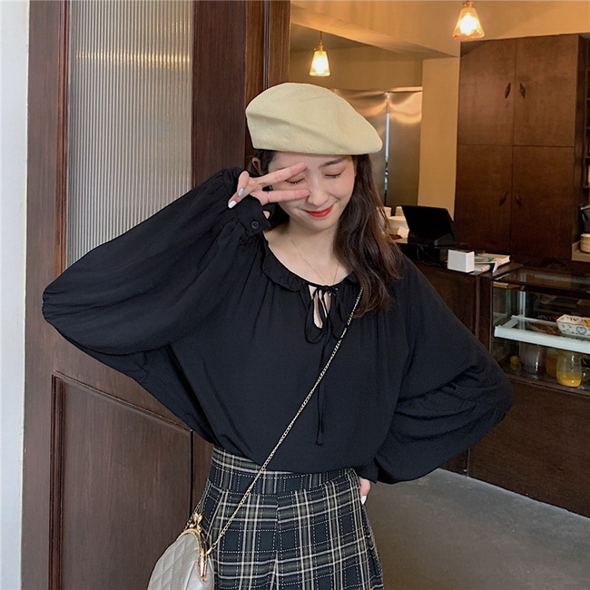 FOFU-長袖上衣復古法式設計感寬鬆綁帶木耳邊長袖上衣【08G-B3143】