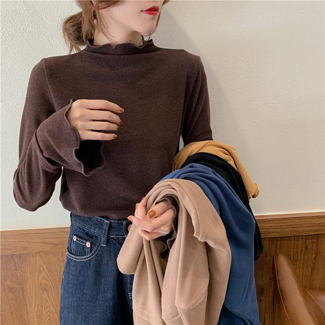 FOFU-長袖上衣百搭寬鬆小高領波浪邊長袖T恤【08G-B3142】