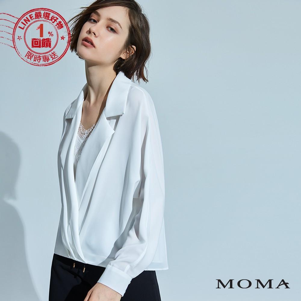 MOMA(92G035) 襯衫領蕾絲兩件式上衣