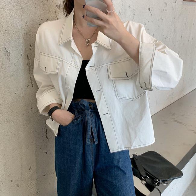 FOFU-休閒外套韓版設計感寬鬆學院襯衫短版休閒外套【08G-F1173】