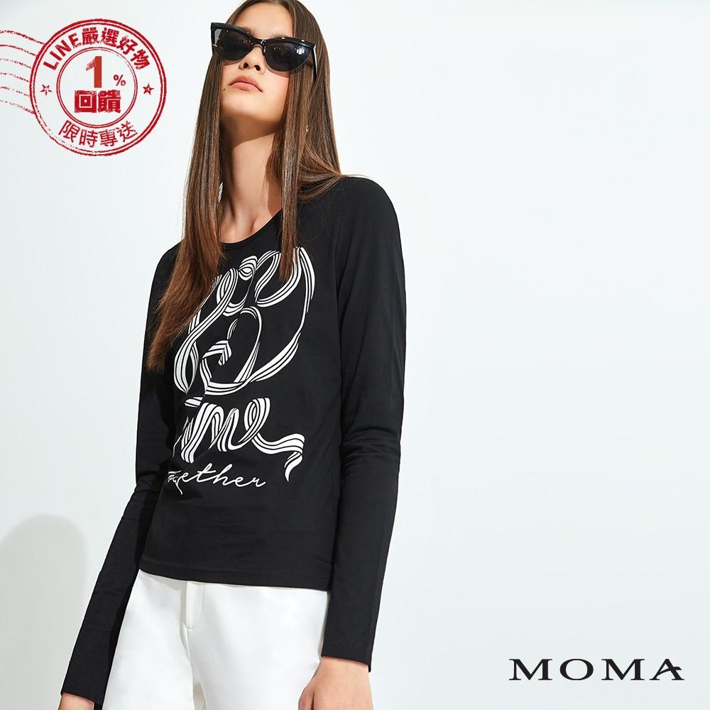 MOMA(92M012)膠印緞帶長袖T恤