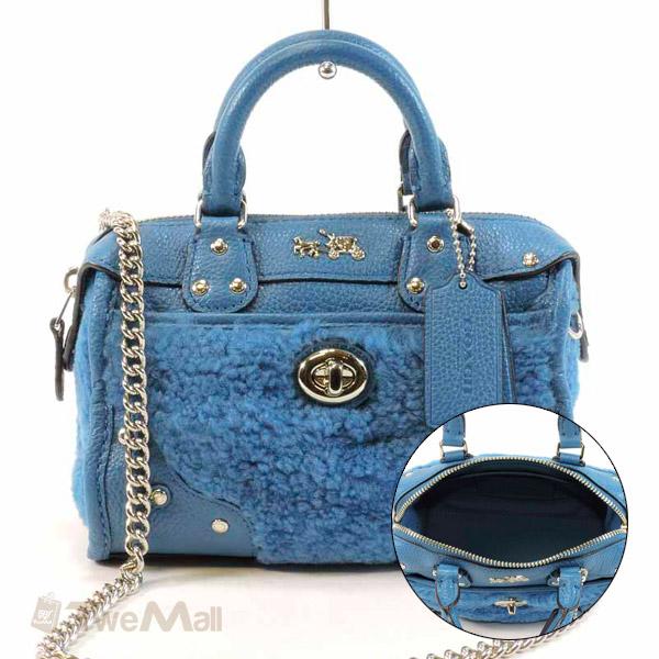 COACH 迷你皮革鏈條手提機車包/斜背包(藍)