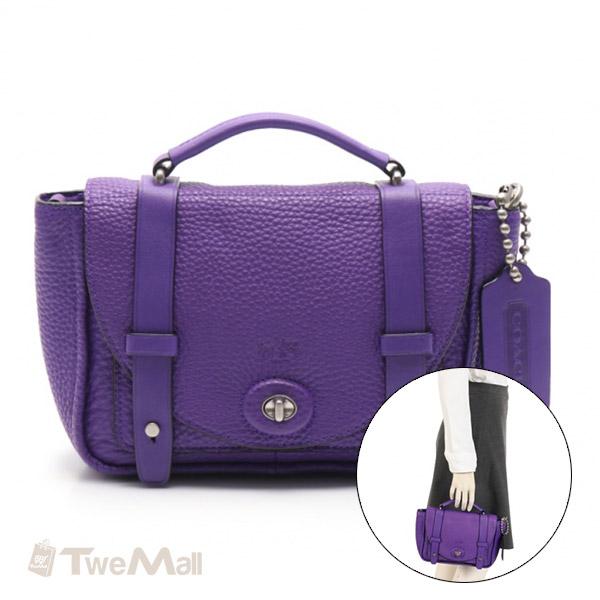 COACH 荔枝紋皮革小手提包/斜背包(紫)