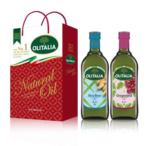 【可超商取貨】奧利塔1公升 2入禮盒(玄米油+葡萄籽油)(因超取限重,只能訂購1盒。)