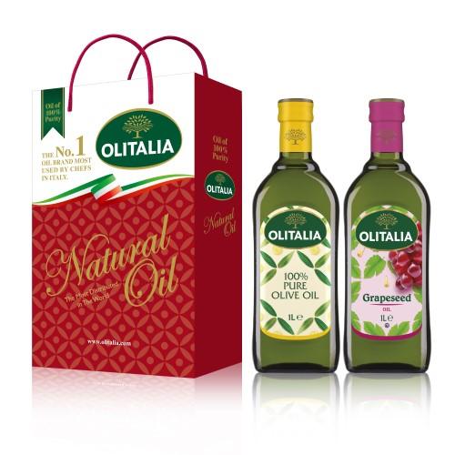 【可超商取貨】奧利塔1公升 2入禮盒(純橄欖油+葡萄籽油)(因超取限重,只能訂購1盒。)
