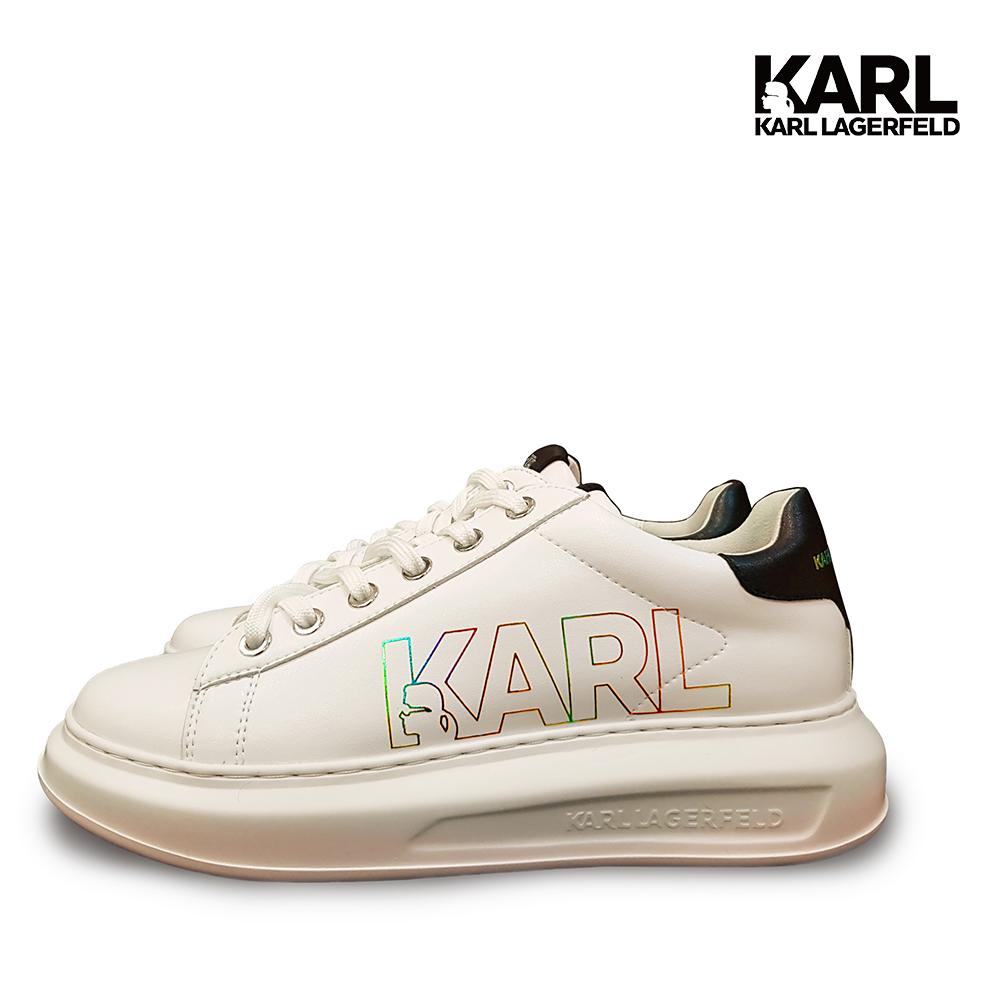 ★全球台灣獨家★【KARL LAGERFELD】運動鞋 休閒鞋 KAPRI 彩虹KARL綁帶運動鞋-白