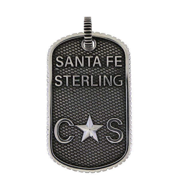 SMALL STARS & CROSSED ARROWS DOG TAG WITH OUTSIDE COIN EDGE