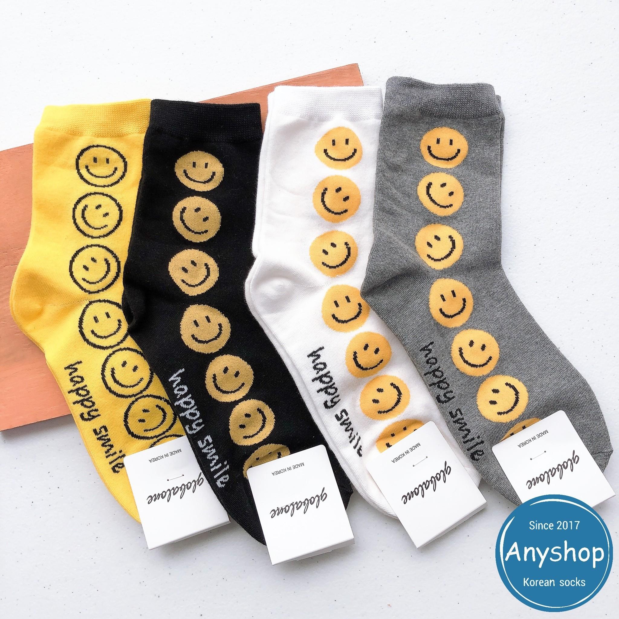 韓國襪-[Anyshop]大膽色笑臉長襪