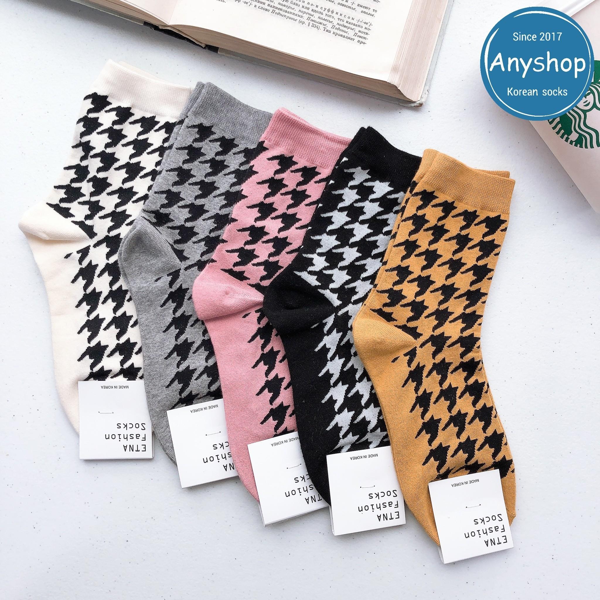 韓國襪-[Anyshop]變奏千鳥格紋襪