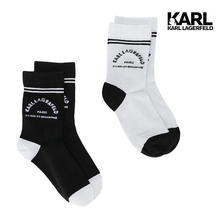 【KARL LAGERFELD】KARL地址LOGO運動休閒襪組-黑銀