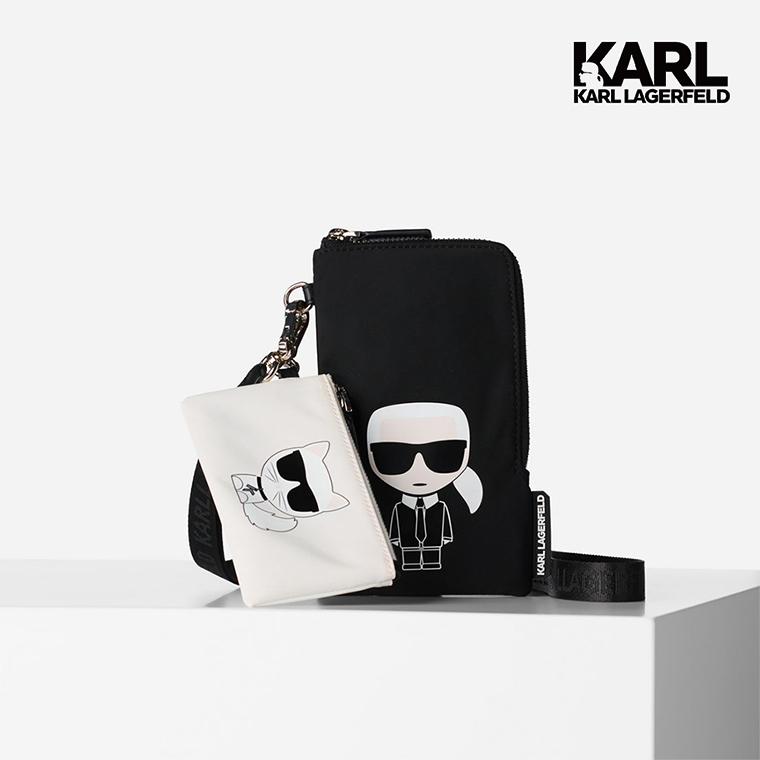 【KARL LAGERFELD】IKONIK尼龍雙層掛袋-黑