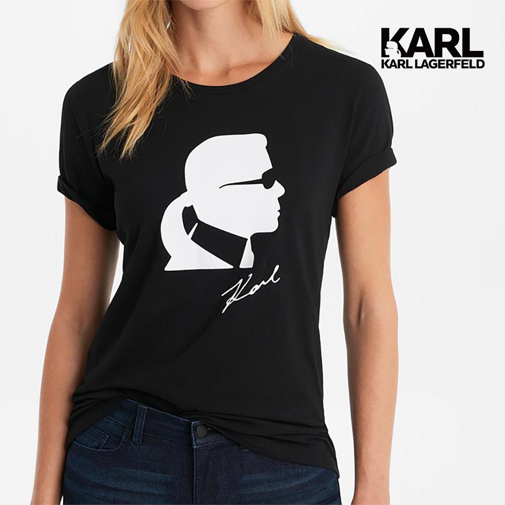 【KARL LAGERFELD】KARL經典剪影T恤-黑