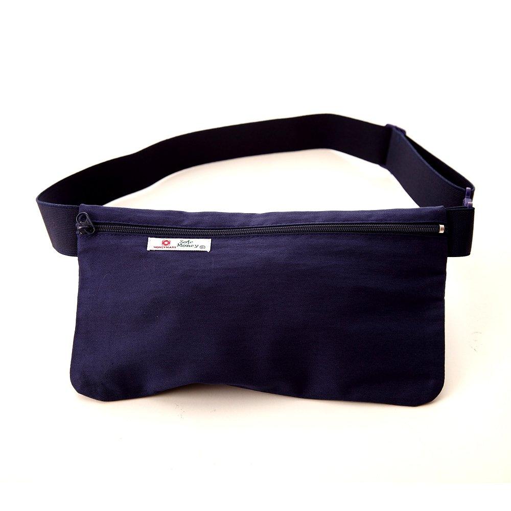 DF Queenin 專利橫式隱藏型貼身防盜腰包2入-藍色